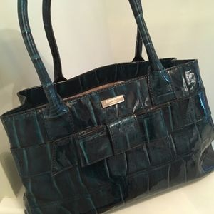 Teal Patent Leather Kate Spade tote bag